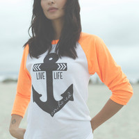 Live Life Anchored Boyfriend Baseball Tee Neon Orange