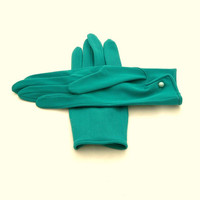 Vintage Mod Gloves 1960s Turquoise Unisize Shorties by Revvie1