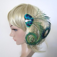 Peacock Feather Fascinator Hair Cli.. on Luulla