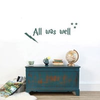 All was well Harry Potter Vinyl Wall quote by TheStickyBoutique