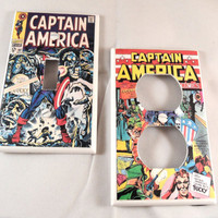 Captain America Vintage Comic Light Switch and Outlet Covers - set of 2 - Avengers