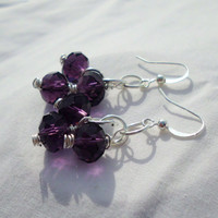 "Dark Purple Glass Bead Earring Cluster, Dangly, ""Ellen"""
