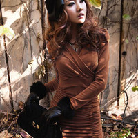 Office Lady Temperament Women Dresses Brown : Wholesaleclothing4u.com