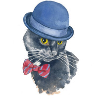 Black Cat Watercolor Painting - Original Art, Bowler Hat, Bow Tie, Cat Illustration, 8x10 Painting