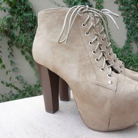 Tan Lace Up Suede Booties
