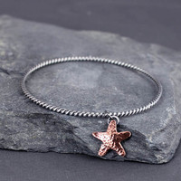 Starfish Charm Bangle Bracelet, Twisted Sterling Silver Bangle, Gifts for Her, Valentines Day, Ready to Ship