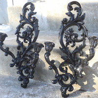 Gorgeous Large Black Ornate Double Wall Sconce Set by melissap6908