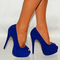 LADIES ELECTRIC BRIGHT COBALT BLUE SUEDE PLATFORMS HIGH HEELS PEEP TOES SHOES