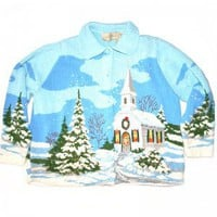Christmas Church in the Snow Tacky Ugly Christmas Sweater/Cardigan Women's Size XL