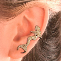 Mermaid Ear Cuff - Gold Vermeil or Sterling Silver -Left Ear Only
