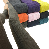 Hot Women's Winter Warm Cotton Knit Tights Pants Skinny Stretch Stirrup Leggings