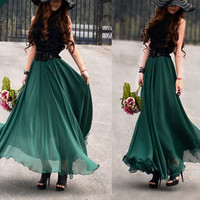 women&#x27;s Jade green silk Chiffon 8 meters of skirt circumference  long dress maxi skirt qz02