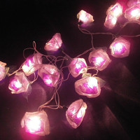 Violet Rose Hanging string lights for party and home decoration indoor and outdoor (20 Flowers/pack)