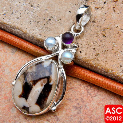 PEANUT WOOD JASPER, AMETHYST, PEARL .925 SILVER PENDANT 2&quot;