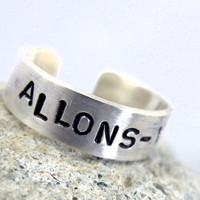 Allons-y Sterling Silver Doctor Who Ring - Hand Stamped, adjustable, customizable