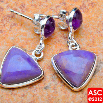 "PHOSPHOSIDERITE, AMETHYST 925 STERLING SILVER EARRINGS 1 1/4"" JEWELRY"