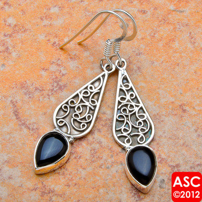 "BLACK ONYX 925 STERLING SILVER EARRINGS 1 7/8"" JEWELRY"