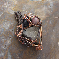 Copper Druzy Wire Wrapped Pendant