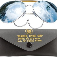 Mirror Lenses US Air Force Style Aviator Sunglasses