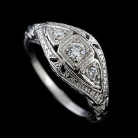 Edwardian Style Diamond 14K White Gold Engagement Filigree Ring