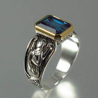 GUARDIAN ANGELS silver and 14K ring with emerald cut London Blue Topaz