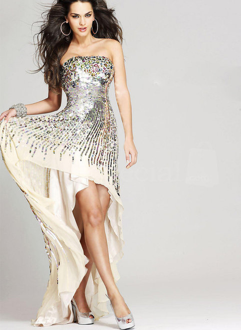 Fantastic A-line Strapless Asymmetrical Chiffon Cocktail Dress with Sequins from SinoSpecial