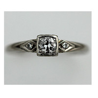 Antique 14 kt White Gold Old European Cut Diamond Engagement Ring Circa 1920's