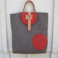 Poet Bag Personalized XL Market Tote Eco Friendly Grey Wool Unique Handmade from Swiss Army Blankets