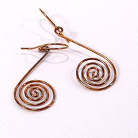 Oxidized Copper Open Spiral Dangle Earrings