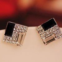Cool White and Black Rhinestone Earrings