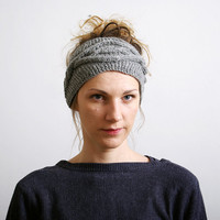 Grey Knitted Headband Ear Warmer Cable knit- Button Closure Ear Warmer or Hair Band.