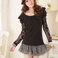 Charming Lace Long Sleeve Round Collar Lady Blouse [LY1436+Black] : Yoco-fashion.com