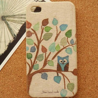 Owl Fabric iphone 5 case iphone 4 case iphone 4s case by basumi