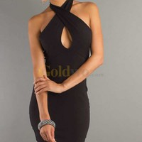 [US$150.99] Black Sexy Short Sheath Halter Homecoming/Cocktail Dress