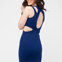 Clean Cut Dress in Blue :: tobi