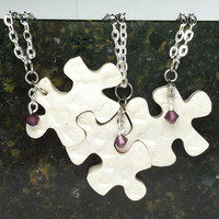 Bridesmaids Puzzle Piece Interlocking Polymer Clay  Necklaces 3 Piece Set  Hearts Made To Order