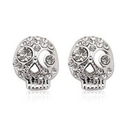 Wholesale Unique Rhinestone Embellished Skull Shape Earrings Silver