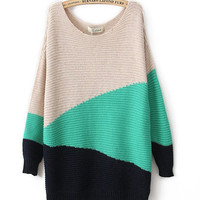 Green Ladies Knitting Loose Sweater One Size HT6953gr from efoxcity