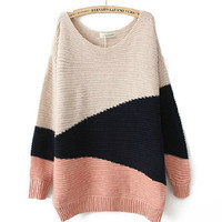 Pink Ladies Knitting Loose Sweater One Size HT6953p from efoxcity