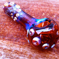 Amber purple textured glass pipe by NorthLightGlass on Etsy