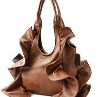Tremendous Flirty Fun Ruffle Double Handle Oversized Hobo Satchel Purse Handbag Shopper Tote Bag