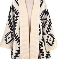 NEW Black White Aztec Tribal Navajo Print Cardigan Sweater 3/4 Sleeve from StyleSays Shop