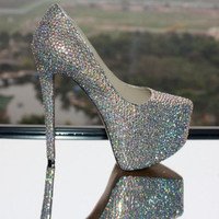 2012 Sparkling Stiletto Ultra High Heel Pumps Leather Wedding/ Prom/ Party Shoes