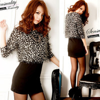 Women Faux Twinset Warm Lovely Dowy Long Sleeve Dotted Pattern Black Mini Dress