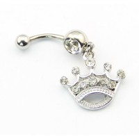 316L Surgical Steel 14 Guage Princess Queen Tiara Crown Dangle Banana Belly Navel Ring Bar Barbell Button Body Jewelry: Jewelry: Amazon.com
