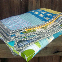 Baby Boy Neutral Modern Strip Quilt Blanket with by PlatoSquirrel