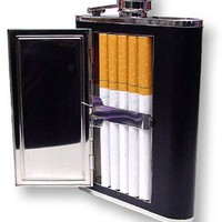 6 oz. Flask with Built in Cigarette Case (For King Size