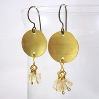 Hand Forged Brass Disk Earrings with Citrine Tassel and Niobium Earwires