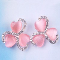 Fashion Three Hearts&Clear Rhinestones Stud Earrings at Online Cheap Fashion Jewelry Store Gofavor