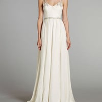 Beaded Straps and Beaded Belt Chiffon Wedding Dress 2013
